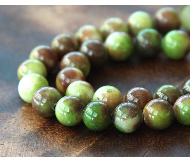 Olive Green and Brown Multicolor Jade Beads, 8mm Round