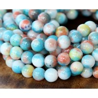 Light Blue, Yellow and Coral Multicolor Jade Beads, 8mm Round