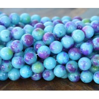Blue, Purple and Green Multicolor Jade Beads, 8mm Round
