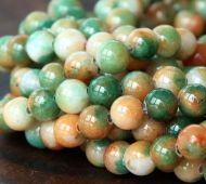 Apple Green and Orange Multicolor Jade Beads, 6mm Round