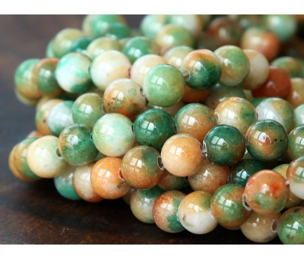 Apple Green and Orange Multicolor Jade Beads, 6mm Round