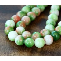 Apple Green and Orange Multicolor Jade Beads, 8mm Round