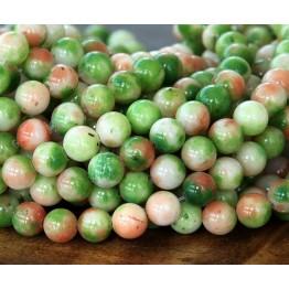 Apple Green and Orange Multicolor Jade Beads, 8mm Round