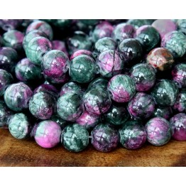 Dark Green and Fuchsia Multicolor Jade Beads, 8mm Round