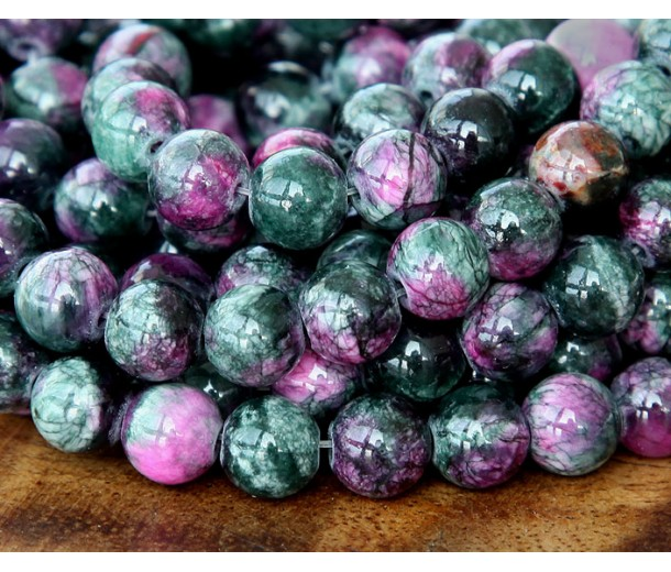Dark Green and Fuchsia Multicolor Jade Beads, 6mm Round