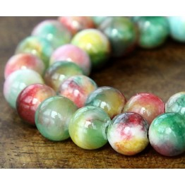 Green, Red and Yellow Multicolor Jade Beads, 10mm Round