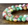 Green, Red and Yellow Multicolor Jade Beads, 8mm Round