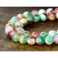 Green, Red and Yellow Multicolor Jade Beads, 6mm Round