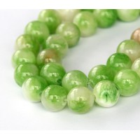 Cucumber Green Multicolor Jade Beads, 10mm Round