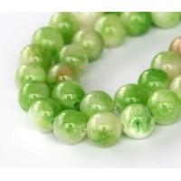 Cucumber Green Multicolor Jade Beads, 10mm Round