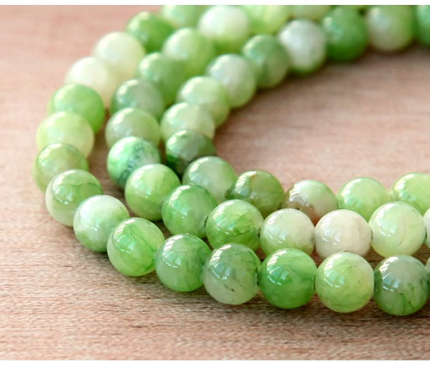 Cucumber Green Multicolor Jade Beads, 6mm Round
