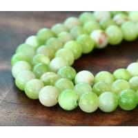 Cucumber Green Multicolor Jade Beads, 8mm Round