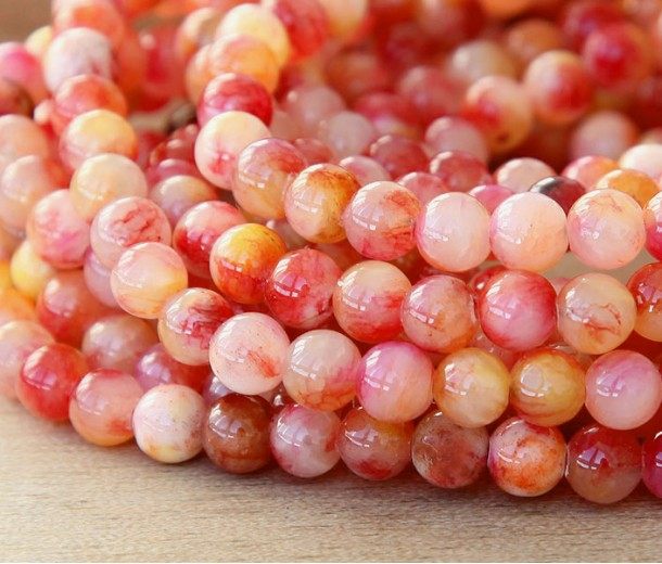 Red and Yellow Multicolor Jade Beads, 6mm Round