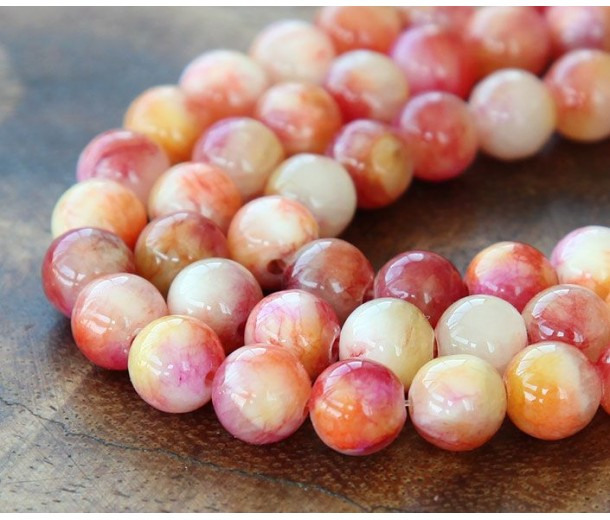 Red and Yellow Multicolor Jade Beads, 8mm Round