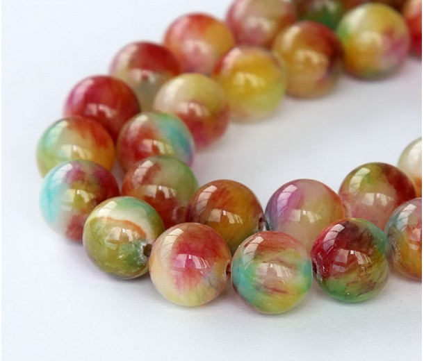 Red and Green Multicolor Jade Beads, 10mm Round