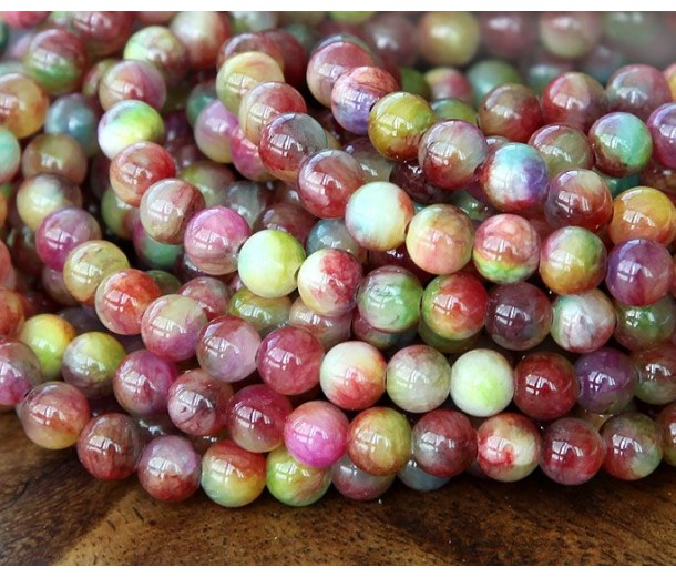 Wine Red and Green Multicolor Jade Beads, 6mm Round
