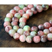 Coral and Brown Multicolor Jade Beads, 6mm Round