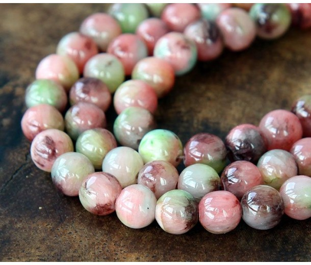 Coral and Brown Multicolor Jade Beads, 8mm Round