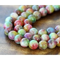 Red and Green Multicolor Jade Beads, 8mm Round