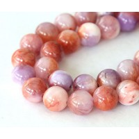 Coral and Lilac Multicolor Jade Beads, 10mm Round