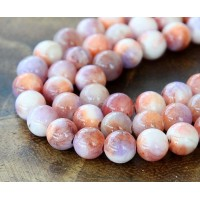 Coral and Lilac Multicolor Jade Beads, 8mm Round