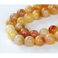 Light Yellow and Pink Multicolor Jade Beads, 10mm Round