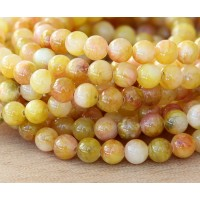 Light Yellow and Pink Multicolor Jade Beads, 6mm Round