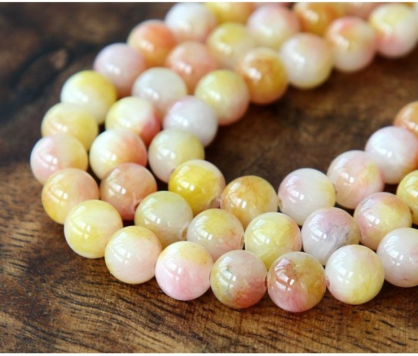 Light Yellow and Pink Multicolor Jade Beads, 8mm Round