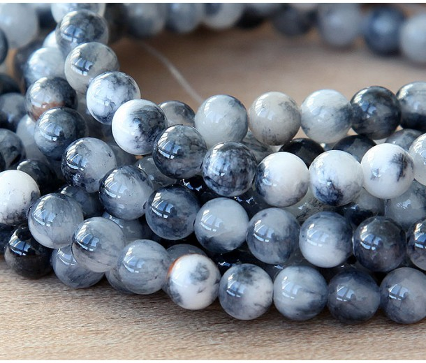 Grey and White Multicolor Jade Beads, 6mm Round