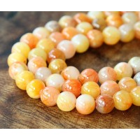 Yellow and Coral Multicolor Jade Beads, 6mm Round