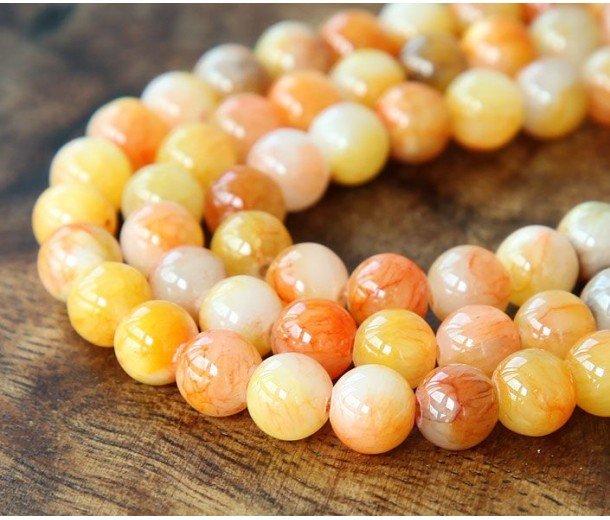 Yellow and Coral Multicolor Jade Beads, 8mm Round