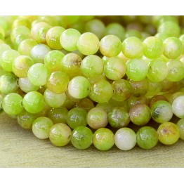 Yellow and Green Multicolor Jade Beads, 8mm Round