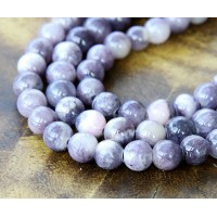 Grey and Pink Multicolor Jade Beads, 8mm Round