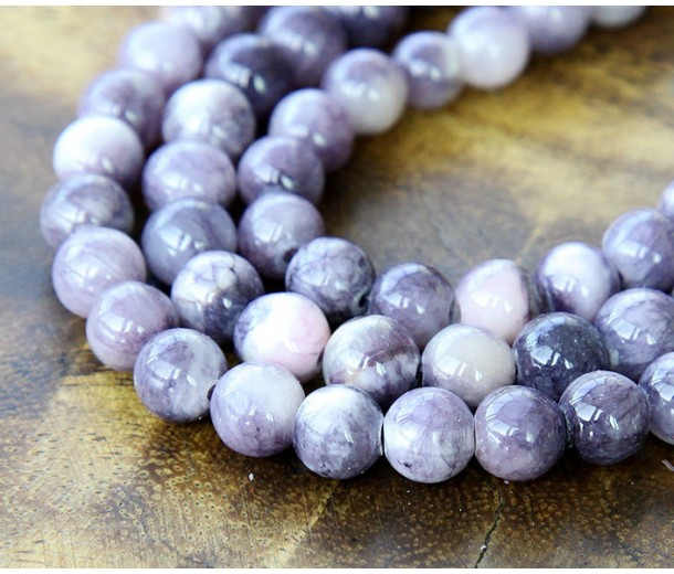 Grey and Lilac Multicolor Jade Beads, 8mm Round