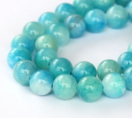 Baby Blue and White Multicolor Jade Beads, 10mm Round