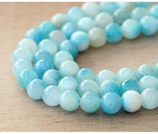 Baby Blue and White Multicolor Jade Beads, 6mm Round