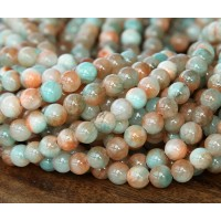 Coral and Aqua Multicolor Jade Beads, 8mm Round
