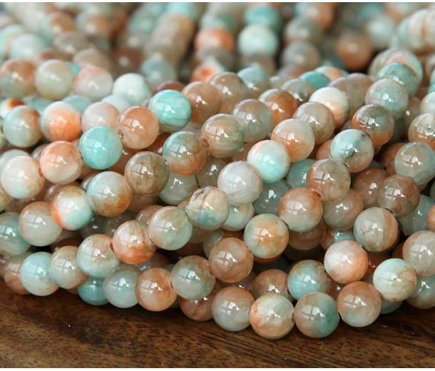 Coral and Aqua Multicolor Jade Beads, 6mm Round