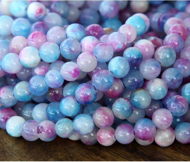 Blue and Magenta Multicolor Jade Beads, 6mm Round