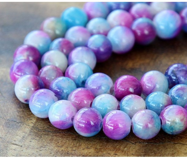 Blue and Magenta Multicolor Jade Beads, 8mm Round