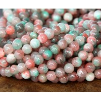 Coral and Teal Multicolor Jade Beads, 6mm Round