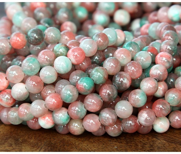Coral and Teal Multicolor Jade Beads, 8mm Round