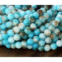 Light Blue and Brown Multicolor Jade Beads, 6mm Round