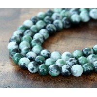 Green, Black and White Multicolor Jade Beads, 6mm Round