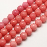 Carnation Pink Mountain Jade Beads, 8mm Round