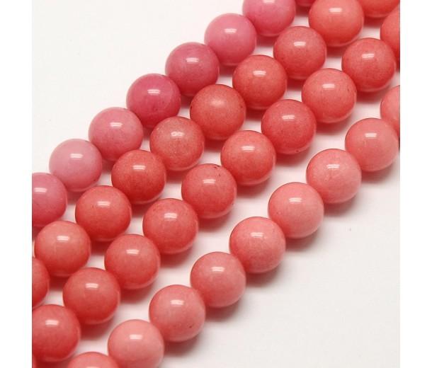 Carnation Pink Mountain Jade Beads, 8mm Round