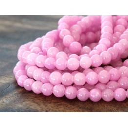 Rose Pink Mountain Jade Beads, 6mm Round