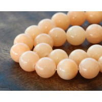 Light Peach Mountain Jade Beads, 10mm Round