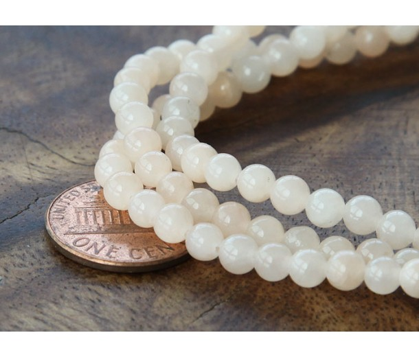 Light Peach Mountain Jade Beads, 4mm Round