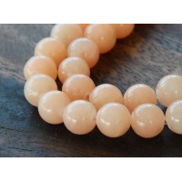 Light Peach Mountain Jade Beads, 8mm Round